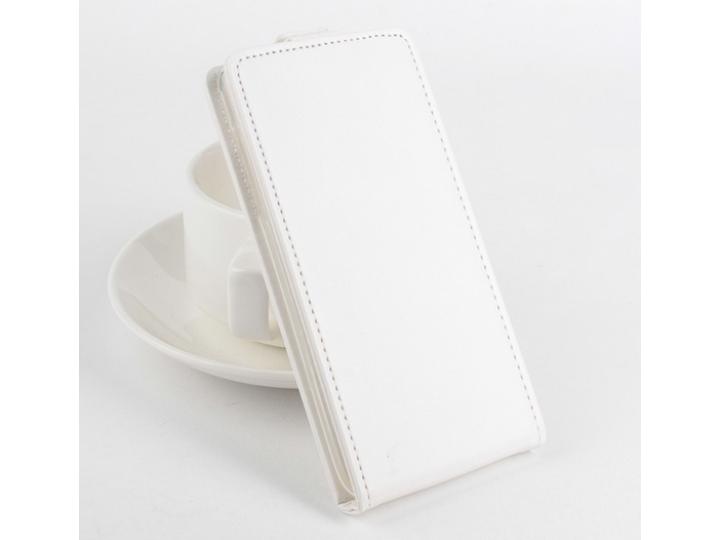 Фирменный оригинальный вертикальный откидной чехол-флип для Acer Liquid E600 белый из натуральной кожи