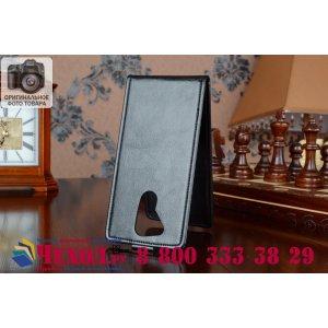 """Фирменный оригинальный вертикальный откидной чехол-флип для Acer Liquid E700 черный из качественной импортной кожи """"Prestige"""" Италия"""