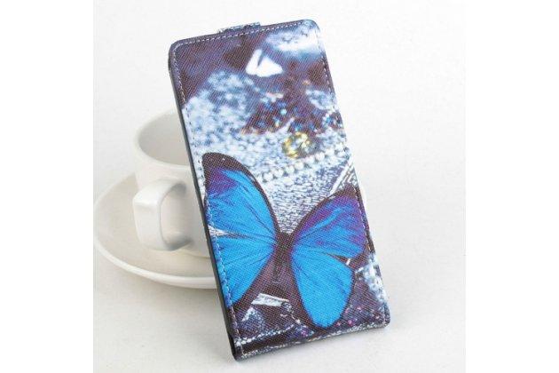 """Фирменный вертикальный откидной чехол-флип для Acer Liquid E700 """"тематика Бабочка"""" кожаный"""
