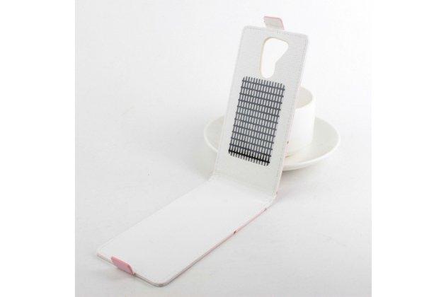 """Фирменный вертикальный откидной чехол-флип для Acer Liquid E700 """"тематика модная девушка"""" белый кожаный"""