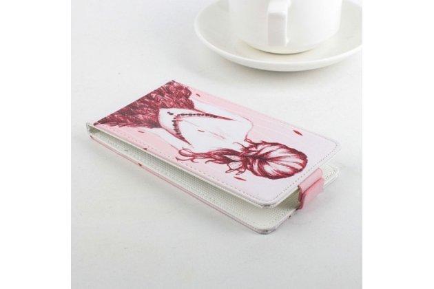 """Фирменный вертикальный откидной чехол-флип для Acer Liquid E700 """"тематика модная девушка"""" розовый кожаный"""