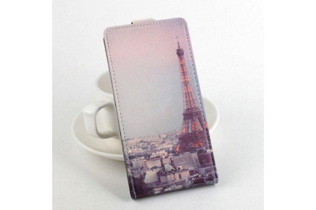 """Фирменный вертикальный откидной чехол-флип для Acer Liquid E700 """"тематика Париж"""" кожаный"""