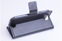 Фирменный чехол-книжка из качественной импортной кожи с мульти-подставкой застёжкой и визитницей для Айсер Ликвид Джет С55 черный