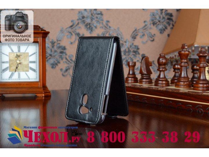 Фирменный оригинальный вертикальный откидной чехол-флип для Acer Liquid Z4 Z160 черный кожаный..