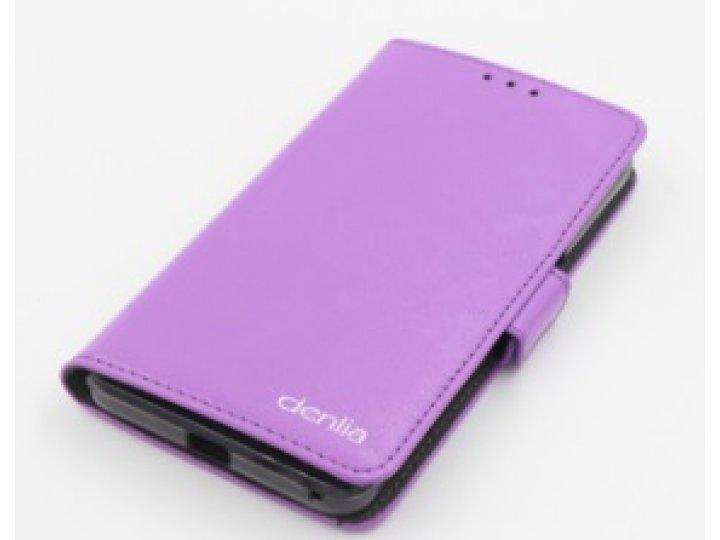 Фирменная оригинальная чехол-книжка для Acer Liquid Z410/ Z410 Duo с визитницей и мультиподставкой фиолетовая..