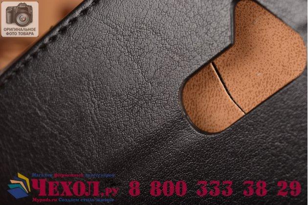 Фирменный чехол-книжка из кожи с мульти-подставкой и застёжкой для Acer Liquid Z410 Duo черный