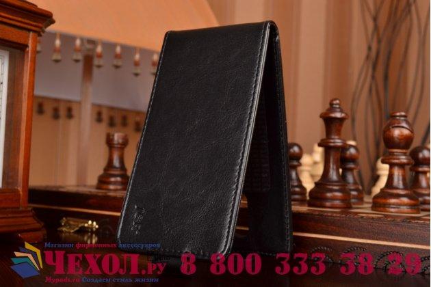 """Фирменный оригинальный вертикальный откидной чехол-флип для Acer Liquid Z410 черный кожаный """"Prestige"""" Италия"""