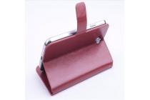 Фирменный чехол-книжка из кожи с мульти-подставкой и застёжкой для Айсер Ликвид Зет410 Дуо коричневый