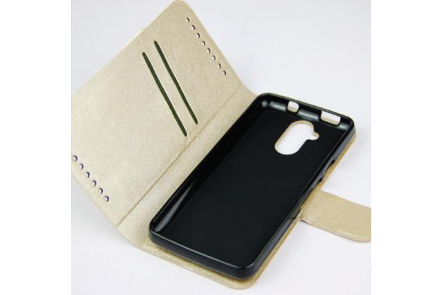 Фирменный водоотталкивающий чехол-книжка с мульти-подставкой застёжкой и визитницей для Acer Liquid Z410 Duo золотой кожаный