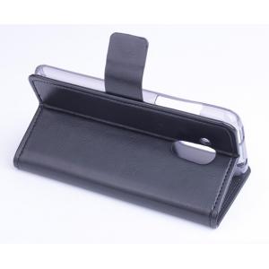 Фирменный чехол-книжка из качественной импортной кожи с мульти-подставкой застёжкой и визитницей для Асер Ликвид З500 Дуал Сим черный