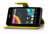 Фирменный необычный чехол-книжка-подставка с визитницей для телефона Acer Liquid M220 / Acer Liquid Z220/ Z220 Duo коричневый кожаный