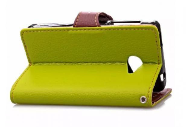 Фирменный необычный чехол-книжка-подставка с визитницей для телефона Acer Liquid M220 / Acer Liquid Z220/ Z220 Duo зеленый кожаный