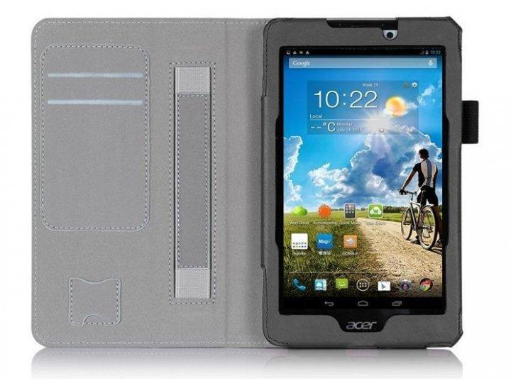 Фирменный чехол бизнес класса для Acer Tab 7 A1-713/A1-713HD с визитницей и держателем для руки черный натурал..