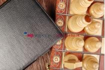 """Фирменный чехол для Acer Iconia Tab A1-810/811 с мульти-подставкой и держателем для руки черный кожаный """"Deluxe"""" Италия"""