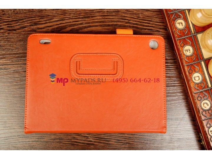Фирменный чехол-обложка для Acer Iconia Tab A1-810/811 оранжевый натуральная кожа