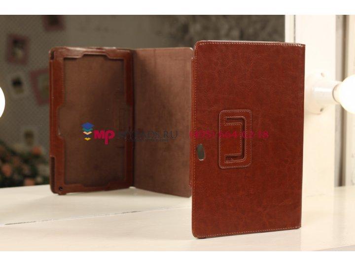 Фирменный чехол-обложка для Acer Iconia Tab W510/W511 каштановый кожаный