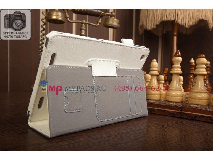 Фирменный чехол-обложка для Acer Iconia Tab A1-830/A1-831 с визитницей и держателем для руки белый натуральная..
