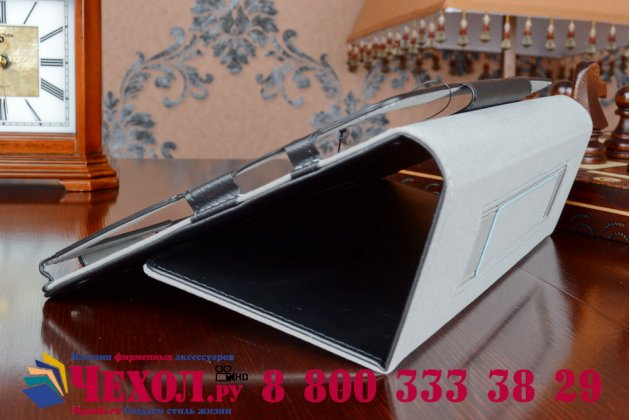 """Фирменный чехол бизнес класса для Acer Iconia Tab A3-A10/A3-A11 с визитницей и держателем для руки черный натуральная кожа """"Prestige"""" Италия"""