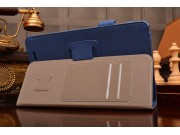 Фирменный чехол бизнес класса для Acer Iconia Tab W1-810 с визитницей и держателем для руки синий натуральная ..