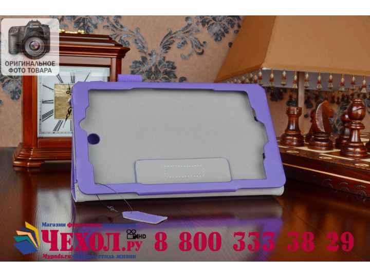 Фирменный чехол бизнес класса для Acer Iconia Tab W1-810 с визитницей и держателем для руки фиолетовый натурал..