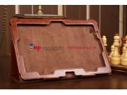 Фирменный чехол-обложка для Acer Iconia Tab W700/W701 коричневый кожаный
