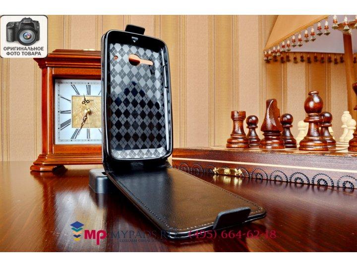 Фирменный оригинальный вертикальный откидной чехол-флип для Alcatel One Touch Evolve 2 4037T черный из качеств..