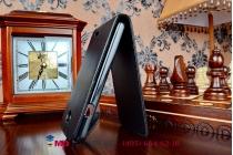 """Фирменный оригинальный вертикальный откидной чехол-флип для Alcatel One Touch Evolve 2 4037T черный из качественной импортной кожи """"Prestige"""" Италия"""