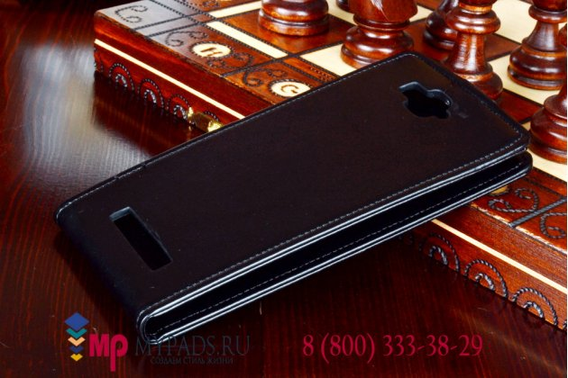 Фирменный оригинальный вертикальный откидной чехол-флип для Alcatel One Touch Hero 1 8020D черный кожаный