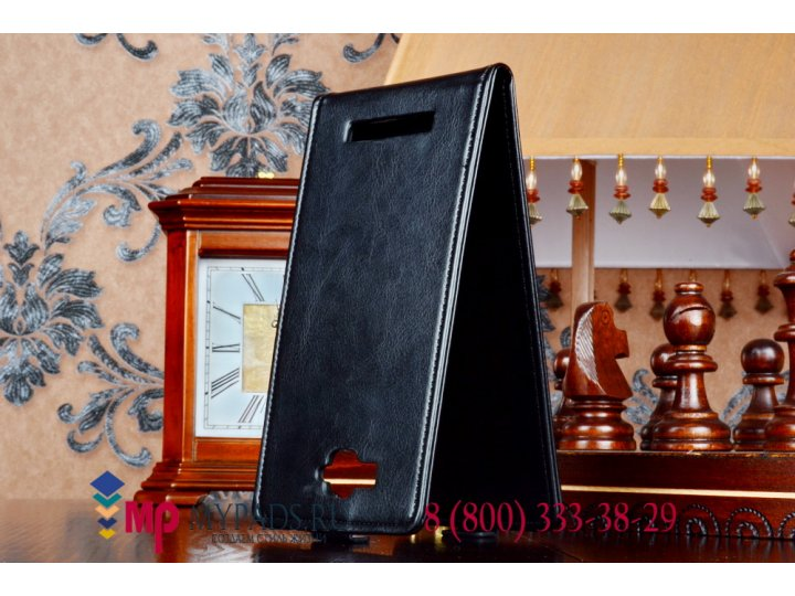 Фирменный оригинальный вертикальный откидной чехол-флип для Alcatel One Touch Hero 1 8020D черный кожаный..
