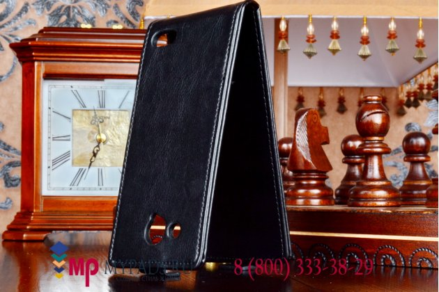 Фирменный оригинальный вертикальный откидной чехол-флип для Alcatel One Touch Idol S 6034R черный кожаный
