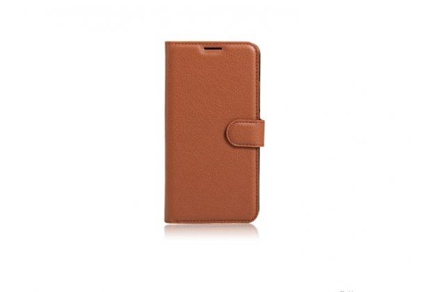 Фирменный чехол-книжка из качественной импортной кожи с мульти-подставкой застёжкой и визитницей для HTC Bolt/HTC Desire 10/ Desire 10 Lifestylle коричневый