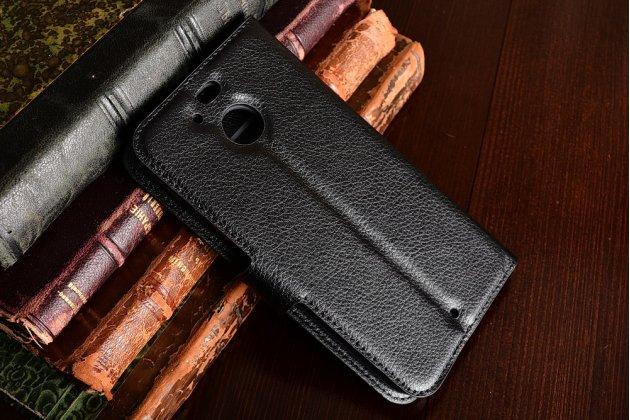 Фирменный чехол-книжка из качественной импортной кожи с мульти-подставкой застёжкой и визитницей для HTC Bolt/HTC Desire 10/ Desire 10 Lifestylle черный