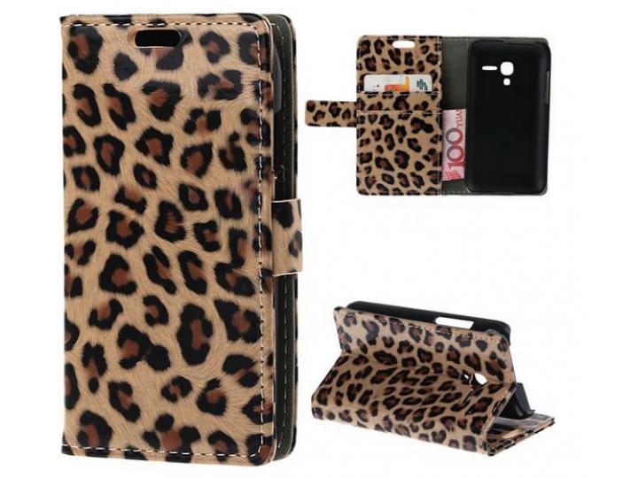 Чехол-защитный кожух для Alcatel One Touch POP D3 4035D/X леопардовый коричневый..