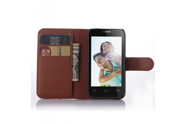 Фирменный чехол-книжка из качественной импортной кожи с мульти-подставкой застёжкой и визитницей для Алкател Ван Тач ПОП Д3 4035Д/Х коричневый
