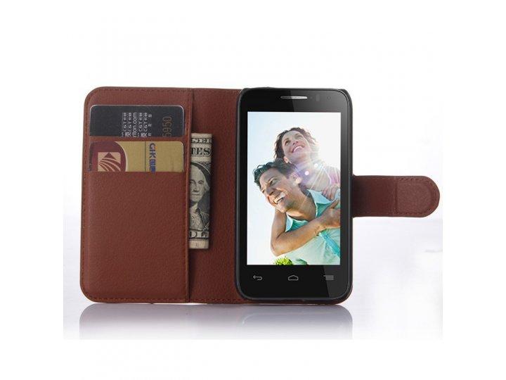Фирменный чехол-книжка из качественной импортной кожи с мульти-подставкой застёжкой и визитницей для Алкател В..