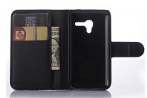 Фирменный чехол-книжка из качественной импортной кожи с мульти-подставкой застёжкой и визитницей для Алкател Ван Тач ПОП Д3 4035Д/Х черный