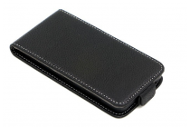 """Фирменный оригинальный вертикальный откидной чехол-флип для Alcatel One Touch POP D3 4035D/X черный из натуральной кожи """"Prestige"""" Италия"""