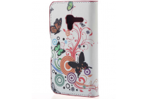 """Фирменный уникальный необычный чехол-книжка для Alcatel One Touch POP D3 4035D/X  """"тематика радужные Бабочки"""""""
