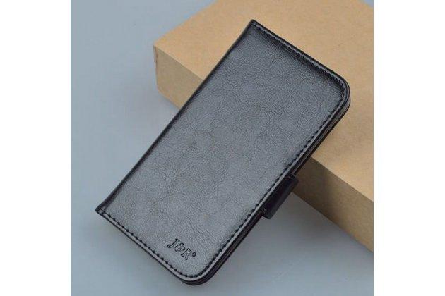 Фирменный чехол-книжка из качественной импортной кожи с мульти-подставкой застёжкой и визитницей для Алкатель / Алкатэль Пикси 3 4027 Дэ/Икс / 5017 Дэ/Икс  черный