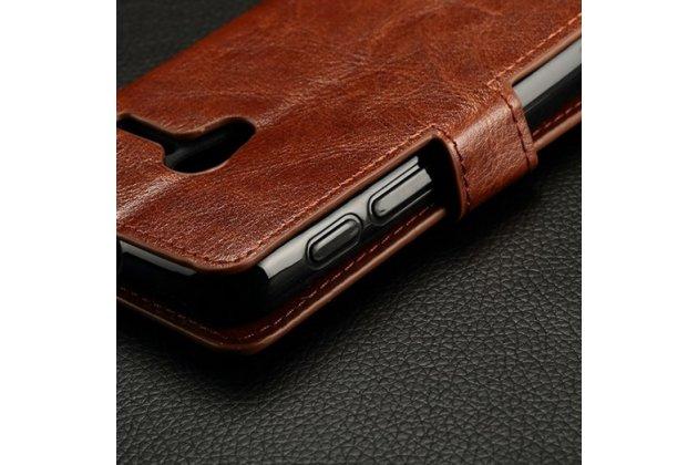 Фирменный чехол-книжка из качественной импортной кожи с мульти-подставкой застёжкой и визитницей для Алкатель / Алкатэль Пикси 3 4027 Дэ/Икс / 5017 Дэ/Икс  коричневый