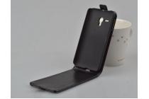 """Фирменный оригинальный вертикальный откидной чехол-флип для Alcatel PIXI 3 (4.5) 4027D/X / 5017D/X черный из натуральной кожи """"Prestige"""" Италия"""