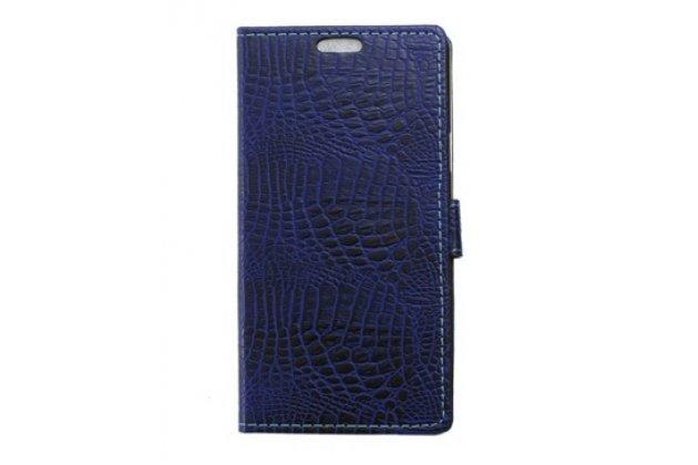 """Фирменный чехол-книжка с подставкой для Alcatel One Touch POP 3 5065D 5.0""""  лаковая кожа крокодила фиолетовый"""
