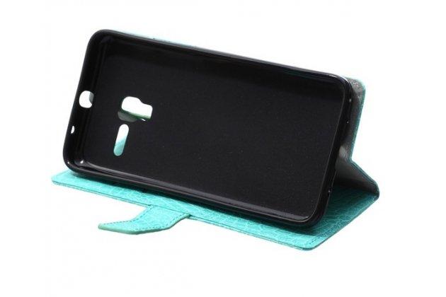 """Фирменный чехол-книжка с подставкой для Alcatel One Touch POP 3 5065D 5.0""""  лаковая кожа крокодила бирюзовый"""