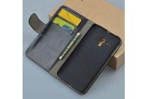 Фирменный чехол-книжка из качественной импортной кожи с мульти-подставкой застёжкой и визитницей для Алкатель / Алкатэль Поп 2(5) 7043 А/У/К черный