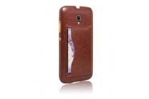 Фирменная роскошная элитная премиальная задняя панель-крышка для Alcatel POP 2 (5) 7043A/Y/K из качественной кожи буйвола с визитницей коричневый