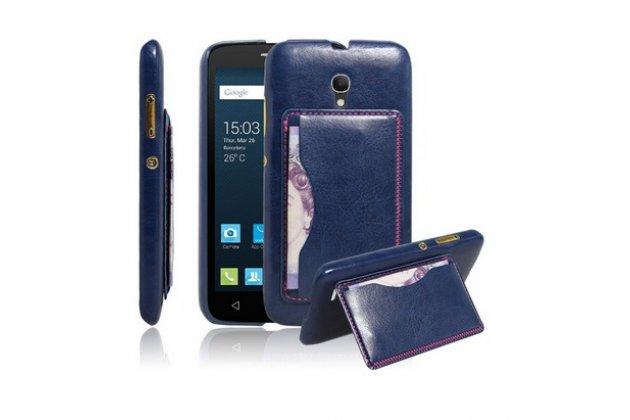 Фирменная роскошная элитная премиальная задняя панель-крышка для Alcatel POP 2 (5) 7043A/Y/K из качественной кожи буйвола с визитницей синий
