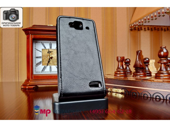 Фирменный оригинальный вертикальный откидной чехол-флип для Alcatel One Touch IDOL MINI 6012D/X черный из каче..