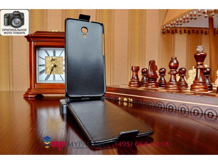 Фирменный оригинальный вертикальный откидной чехол-флип для Alcatel Idol 2S 6050Y черный кожаный