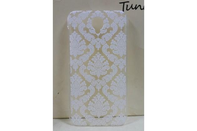 Фирменная роскошная задняя панель-чехол-накладка с расписным узором для Alcatel One Touch Idol 2 OT 6037Y/K/B  прозрачная белая