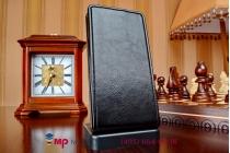 """Фирменный оригинальный вертикальный откидной чехол-флип для Alcatel One Touch Idol 2 OT 6037Y/K/B черный из качественной импортной кожи """"Prestige"""" Италия"""